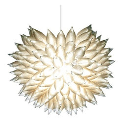 "HelenBilt - HelenBilt | Silver Lining Pendant - Design by Helen Louise Gifford.YLighting is excited to offer the Urchin family by Helenbilt! These pieces are hand-built to order in the Helenbilt studios.Satin spun flame-tipped bulbs evoke a cloud's ethereal effect. Hundreds of lamps collaborating in this organic form create a varigated effect on the immediate surroundings. Silver Lining is illuminated by a single source at the nucleus of the armature.Available in 14"", 16"", 18"", 20"", 22"", or 24"" diameters. Includes 10 feet of wire and support cable. Uses 1 X 60W 120V E26 (medium base) G40 clear globe incandescent lamp (not included).Please consult our Sales Department, 866.428.9289, for other designs from Helenbilt."