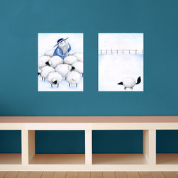 My Wonderful Walls - Lost Sheep 2-Piece Wall Decal - Repositionable Sticker, Small - - Lost Sheep graphic by Laura González