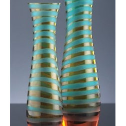 Blue/Orange Large Striped Vase by Cyan Design - These contemporary vases will add flair to any space with their colorful stripes and chiseled glass in a blue and orange finish.