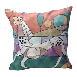 Animal Print Contemporary Pillow - Give your favorite setting a true work of art. This sublime square features a silk embroidered reproduction of a modern painting — a cool style statement for your decor.