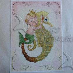 Baby Room Decor Merboy Mermaid Fabric Block Panel. - MERBABIES FABRIC BLOCKS - MERBABIES FABRIC BLOCKS APPLIQUES