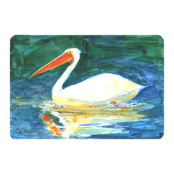 Caroline's Treasures - Bird - Pelican Kitchen or Bath Mat 20 x 30 - Kitchen or Bath Comfort Floor Mat This mat is 20 inch by 30 inch. Comfort Mat / Carpet / Rug that is Made and Printed in the USA. A foam cushion is attached to the bottom of the mat for comfort when standing. The mat has been permanently dyed for moderate traffic. Durable and fade resistant. The back of the mat is rubber backed to keep the mat from slipping on a smooth floor. Use pressure and water from garden hose or power washer to clean the mat. Vacuuming only with the hard wood floor setting, as to not pull up the knap of the felt. Avoid soap or cleaner that produces suds when cleaning. It will be difficult to get the suds out of the mat.