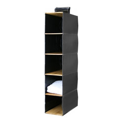 Great Useful Stuff - Bamboo Hanging Closet Organizer, 5 Shelves - Make the most of your closet space with a sleek bamboo and leatherette hanging shelf. It's perfect for storing everything from sweaters to handbags and gives any closet space a custom look and feel.