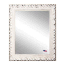 Rayne Mirrors - USA Made White French Charm Wall Mirror - Add some romantic reflection to you decor with this distressed ivory, French Victorian style wall mirror.   The carved detailing and  old time worn white finishes wonderfully replicates design from the Victorian era.  Rayne's American Made standard of quality includes; metal reinforced frame corner  support, both vertical and horizontal hanging hardware installed and a manufacturers warranty.