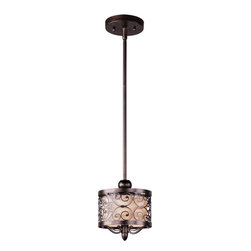 Joshua Marshal - One Light Umber Bronze Drum Shade Mini Pendant - One Light Umber Bronze Drum Shade Mini Pendant
