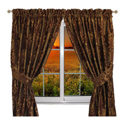 Sherry Kline - Sherry Kline Luxury China Art Brown 84-inch Curtain Panel Pair - Dress up your windows with this attractive luxury window panels. The panels feature a brown floral woven jacquard China art brown fabrics design and tiebacks are included.