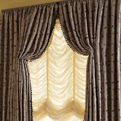 Fringe Curtains & Draperies of Indianapolis- Custom Styles at Affordable Prices - These draperies are made in a rod pocket style to compliment the 'gathering' look of the balloon shade underneath.