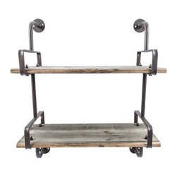 Industrial Wood Wall Shelf - Great industrial, urban shelf for any room in your home. Hang alone or group together to make a statement on your wall. Perfect for displaying all of your kicknacks and collectables.