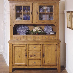 Broyhill - Attic Heirlooms China Door Hutch and Base in Natural Oak - 5397-65SH - Rustic Oak, as shown (Order as item 5399-65H)