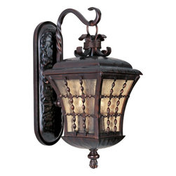 Joshua Marshal - Three Light Oil Rubbed Bronze Amber Seedy Glass Wall Lantern - Three Light Oil Rubbed Bronze Amber Seedy Glass Wall Lantern