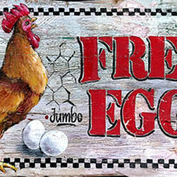 Red Horse Signs - Fresh Eggs Nostalgic Vintage Sign with Rooster Country Kitchen Signs - Fresh  Eggs  Nostalgic  Vintage  Sign  with  Rooster-    Country  Kitchen  Signs    Enhance  your  country  kitchen  with  this  nostalgic  Fresh  Eggs  sign.  Real  wood  makes  this  painted  sign  an  authentic  treasure.  Measuring  12x15  and  classic  country  in  style,  this  sign  is  sure  to  freshen  your  kitchen  decor!  Please  allow  up  to  three  weeks  for  delivery.    Product  Specifications:        Vintage  Country  Syle    Finished  size:  12x15    Printed  directly  to  distressed  wood