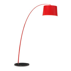 Zuo - Twisty Floor Lamp, Red W/ Black Base - The Twisty Floor Lamp is a new twist on a modern classic.  There is a slight arch of the elegant, thin aluminum arm that extends for excellent task lighting.  The marble base keeps the Twisty Floor Lamp grounded.  Perhaps the feature that makes this floor lamp so quirky and fun are the color combinations available to you.  Available in black, white, red and yellow color combinations that can allow this piece to stand out in your living room, bedroom, keeping room or home office.