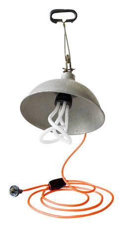 EarthSeaWarrior - Vintage Industrial Clip Clamp Lamp Bell Factory Light Neon Orange Textile Cord - Bell shade is vintage and there are some natural signs of aging and aesthetic distress