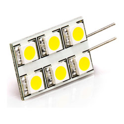 White 6HP-LED Rectangular G4 Lamp - Rectangle type G4 base Lamp with 6 high power 5050 SMD LEDs. 12 Volt AC or DC. Produces 77/55 lumen at 7000K/3100K, 120 degree beam pattern. 0.65 inch x 1 inch, Connection Pins exit side of lamp.