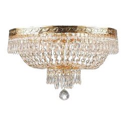 "The Gallery - French Empire Crystallush Ceiling chandelier Lighting 4-Light - 100% crystallush Ceiling chandelier, this chandelier is characteristic of the grand chandeliers which decorated the finest Chateaux and Palaces across Europe and reflects a time of class and elegance which is sure to lend a special atmosphere in every home. Assembly required. Size: W. 17"" x H. 14"", 4 Lights. Finish: Gold, shipping: $21."