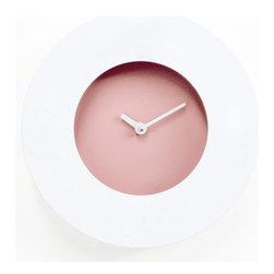 Progetti - Doughnut White/Purple Customizable Wall Clock - Doughnut 2305 Wall Clock in Purple/White, Outer White Dial is Magnetic, Box is Made of Plastic and Wood, Customizable Clock, Designed by Shinichi Yamauchi and Kei Ninomiya, Made in Italy