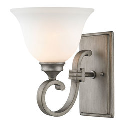 Golden Lighting - Golden Lighting Rockefeller PS 1 Light Sconce - Square arm shape and decorative bracing for transitional or traditional style. Available in 2 finishes, this family works well with countless color schemes. Peruvian Silver finish is brushed with light antiquing. Opal glass for a fresh, updated look. Popularly used in halls, stairways, entrys and as an accent.. Eye-catching accent that can be used individually or arrayed in a group. . . Fixture may be mounted with facing up or down. Wire Length: 8 inch.