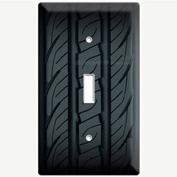Rubber Car Tire Light Switch Cover by Decor Lounge - Burn rubber! Or just use it as a lovely switch plate. This seller has several configurations to choose from, including matching outlet covers.