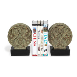 Port 68 - Galiano Bookends, Set of 2 - Inspired by an antique door knocker in Paris, this textured pair of bookends features a verdigris patina wood tone and black base. Cast from polystone in shades of distressed green, the Galiano bookends make an ideal focal piece to hold your favorite books.