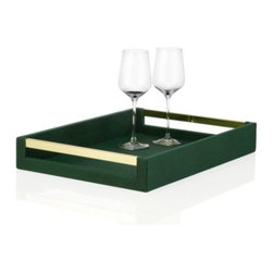 Z Gallerie - Manta Tray - Sleek and contemporary, our Emerald Manta Tray offers a rectangular shape with modern appeal and high style to arrange your libations on. The tray's ample surface, crafted of faux shagreen, makes it effortless to wait on your guests with style. Making for ease of use, our Manta Collection comes with cut out handles finished in polished a gold hue stainless steel. Exclusive to Z Gallerie.