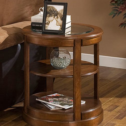Dimensions - Glass Top Round End Table - Update your living room furniture with a new end table Furniture features a wood frame top and legs End table has an additional shelf for storage