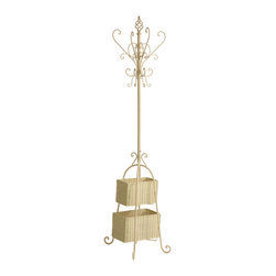SEI - Ivory Hall Tree with Rattan Storage - Proof that organization doesn't have to be boring, this stylish ivory coat rack and its graceful scroll detail is sure to be a welcome addition to your home or office. With plenty of hooks for hats, coats, jackets or scarves, the baskets add additional storage space for umbrellas, small totes or mittens. The small basket measures 11 inches by 6 inches by 7 inches tall and the large basket measures 13 inches by 7. 5 inches by 7. 5 inches tall.