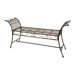 Oriental Furniture - Rustic Decorative Garden Bench - Rust Patina - With its elegant design and handsome finish, this garden bench is a wonderful way to accentuate your home decor or provide seating outdoors. The distinctive shape of this backless settee harkens back to a more refined era, and the rich faux-rust patina accentuates this antique look. Crafted from wrought iron, this bench is durable, lightweight, springy, and comfortable. An excellent addition to the lawn, patio, or garden, this bench would look equally striking inside the home.