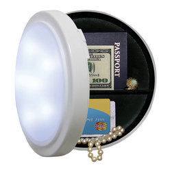 None - Battery Operated Closet Light with Concealed Safe 8 Inches - Most burglars spend less than six minutes inside a victim's home and only have time to check the most obvious places for valuables. With this product you can hide your valuables in what looks like an ordinary working closet light.