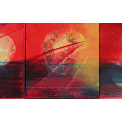 "Joy (3) 12 X 12 Red Golden Energy (Original) by Robert And Michelle Casarietti - ''Joy'' is an original 3 piece triptych. Each piece is a 12 x 12 x 2, Typically we hang these well we hang them many ways but with 3"" to 4"" between making the painting a 42 x 12 and you can put more space to make it larger, horizontal, vertical or diamond and staggered.  Really versatile and fun paintings!"