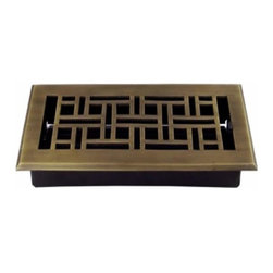 Richelieu Hardware - Richelieu Arts/Crafts Brass Floor Register 281mmx127mm  English - Richelieu Arts/Crafts Brass Floor Register 281mmx127mm  English