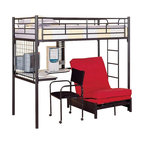 Coaster - Coaster Max Twin Over Futon Metal Bunk Bed with Desk in Black Finish - Coaster - Bunk Beds - 2209+2335M - Coaster brings innovative furniture at competitive prices to your home.The Max bunk beds from Coaster are great space savers for your kids room. This attractive study loft from Coaster maximizes the space for your child's bedroom and creates a great study play and sleep area. Constructed of sturdy welded metal. Bunk bed comes with desk futon caster chairs and CD rack.Features: