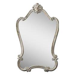 Uttermost - Walton Hall Unique Antique White Mirror - Featuring decorative Fleur-de-lis details, this frame is finished in heavily distressed antique white with charcoal undertones and a light gray glaze.