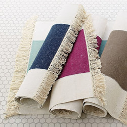 Broad Stripe Bath Dhurrie - A dhurrie feels fresher than a traditional bath mat and adds a hint of the exotic.