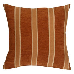 Pillow Decor Ltd. - Pillow Decor - Traditional Stripes in Rust 16 x 16 Decorative Pillow - This 16 inch square decorative pillow features classic stripes in rust, cream and earthen brown. The deep rust stripes are in a soft chenille, and contrast beautifully with the durable weave of the lighter colored cream and earthen brown stripes.