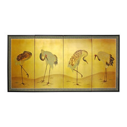Oriental Furniture - Gold Leaf Cranes - Evoke images of the Orient with this soft and beautiful, hand-painted gold leaf rendition of cranes. Note that no two renderings are exactly the same. Subtle, beautiful hand painted wall art.