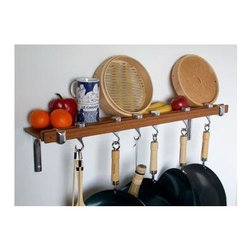 Taylor and Ng - Track Wall Pot Rack - Optional eight hanging links. Wall mounted. Made from bamboo and cast aluminum. Rectangular shape. Burnished bamboo finish. Distance from ceiling: 22 in.. Hanging link: 1.13 in. L x 0.19 in. W x 3 in. H (0.38 lbs.). Pot rack with hooks, wall brackets and shelf: 36 in. W x 2 in. D x 8 in. H. Pot rack: 36 in. W x 8.38 in. D x 8.63 in. H (8 lbs.). Includes mounting hardware, instructions booklet, five pan hooks, two swivel hooks, two bars, wall brackets and screws. Assembly required. Made in Taiwan. 360 degree swivel hooks. Mounts directly to studs 32 in. on center. Two sturdy aluminum wall brackets. Wall brackets support to 5 in. wide matching bamboo shelf to hold spice jars, cookware covers and pantry ware