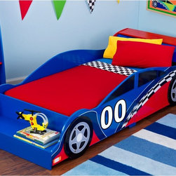 KidKraft Race Car Toddler Bed - Zoom, zoom! Get in the fast lane (to dreamland) with this race car toddler bed. Decorated in bold primary colors, it features side rail protection and a front shelf for storage.
