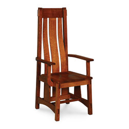 McCoy Arm Chair - Custom made in your choice of 8 American hardwoods available in 18 different finishes. Price varies with wood selection.  Shown with wood seat but available with fabric or leather seats.