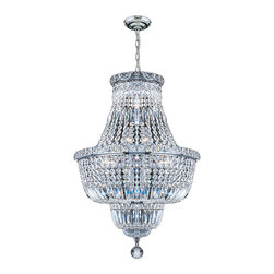 "Worldwide Lighting - Empire 12 Light Chrome Finish and Clear Crystal Chandelier 18"" D x 27"" H Medium - This stunning 12-light crystal chandelier only uses the best quality material and workmanship ensuring a beautiful heirloom quality piece. Featuring a radiant chrome finish and finely cut premium grade crystals with a lead content of 30%, this elegant chandelier will give any room sparkle and glamour. Worldwide Lighting Corporation is a privately owned manufacturer of high quality crystal chandeliers, pendants, surface mounts, sconces and custom decorative lighting products for the residential, hospitality and commercial building markets. Our high quality crystals meet all standards of perfection, possessing lead oxide of 30% that is above industry standards and can be seen in prestigious homes, hotels, restaurants, casinos, and churches across the country. Our mission is to enhance your lighting needs with exceptional quality fixtures at a reasonable price."