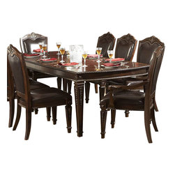 Homelegance - Homelegance Palace 8-Piece Dining Room Set in Brown Cherry - The Palace collection exemplifies the best of Old World Europe. Egg and dart moldings, rope twists, acanthus and tobacco leaf carvings and florets accentuate each piece; the Palace collection has it all.