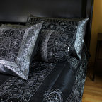 "Luxurious & Decorative Bedding Sets - Exclusive ""Ornamental Embroidered"" Indian design. 7-piece bedding set. Mystic Black color with Silver border.."