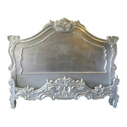 Anastasia French Louis XV Style Bed in Silver - Beautiful Bed in the French Louis XV style. Hand made from solid mahogany wood with Hand carvings shown. Finished in silver.