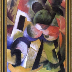 """Art MegaMart - Franz Marc Small Composition II - 18"""" x 24"""" Framed Premium Canvas Print - 18"""" x 24"""" Franz Marc Small Composition II framed premium canvas print reproduced to meet museum quality standards. Our Museum quality canvas prints are produced using high-precision print technology for a more accurate reproduction printed on high quality canvas with fade-resistant, archival inks. Our progressive business model allows us to offer works of art to you at the best wholesale pricing, significantly less than art gallery prices, affordable to all. This artwork is hand stretched onto wooden stretcher bars, then mounted into our 3 3/4"""" wide gold finish frame with black panel by one of our expert framers. Our framed canvas print comes with hardware, ready to hang on your wall.  We present a comprehensive collection of exceptional canvas art reproductions by  Franz Marc ."""