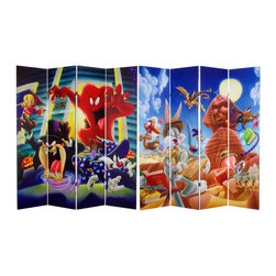 Oriental Furniture - 6 ft. Tall Double Sided Tasmanian Devil and Bugs Bunny Canvas Room Divider - Lively Looney Tunes animation art printed on a special edition four panel folding screen design. Vibrant, vivid cartoon graphic art images reproduced on a portable, practical room partition, privacy screen, floor length shade, or decorative background, with an element of colorful chaos for casual, creative home and work environments.