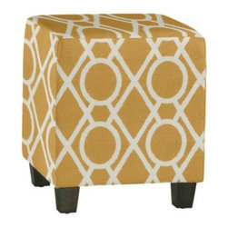 Upholstered Cube - These little cubes are so versatile, and look great in a bold pattern. I would use two or even four to serve as an impromptu cocktail table or as extra seating for the big game.