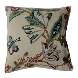 Crewel Fabric World - Crewel Pillow Outdoor Butterfly Bush Cream Cotton Duck 20x20 Inches - Butterfly Bush is a rendering of the beauty of the butterfly and the spring time blooms as seen by the artisans and craftsmen of Kashmir .