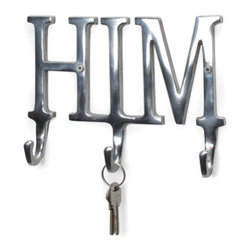 """""""His"""" Aluminum Wall Hook - This sturdy aluminum """"His"""" wall hook will let everyone know whose is whose. Use for keys, robes or towels. Sturdy cast polished aluminum triple hooks. 9 in L."""