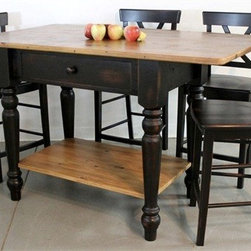 Black Open Base Kitchen Island From Old Pine - Made by http://www.ecustomfinishes.com