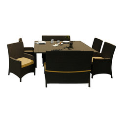 Forever Patio - Hampton 7 Piece Square Patio Dining Set, Chocolate Wicker and Wheat Cushions - The Forever Patio Hampton 7 Piece Modern Outdoor Wicker Square Dining Set with Gold Sunbrella cushions (SKU FP-HAM-7SQDN-CH-WM) is perfect for taking in fresh air while enjoying a meal with friends. The set seats 8 adults comfortably, and includes 4 dining chairs, 2 dining benches and a dining table with a glass top. This set features Chocolate resin wicker, which is made from High-Density Polyethylene (HDPE) for outdoor use. Each strand of this outdoor wicker is infused with the rich color and UV-inhibitors that prevent cracking, chipping and fading ordinarily caused by sunlight, surpassing the quality of natural rattan. This patio dining set is supported by thick-gauged, powder-coated aluminum frames that make it extremely durable and resistant to corrosion. Also included are fade- and mildew-resistant Sunbrella cushions. The elegance of this resin wicker dining set combined with its high quality materials will make your outdoor area a hub for unwinding while dining.