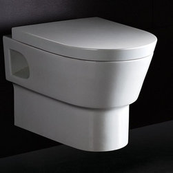 """Eago - Round Modern Wall Mount Dual Flush Toilet - Dual Flush 1.6 gpf & 0.8 gpf. One Piece Toilet. Dimensions: 15in. x 21 7/8in. x 15 3/4in.. European design. Siphonic Flush System. New tower based mechanism; No chain, no flapper. Fully Glazed inside & out. Soft Closing Toilet Seat, Lid & wax ring included. Powerful & efficient 3in. flushing valve. Wide water surface allows for easy cleaning. Balanced water distributionMounts to the wall leaving your floor space completely free, providing a functional benefit while offering a unique and stylish look to your bathroom. This environmentally friendly toilet will save a family of four an average of 10,000 gallons of water per year! Never be startled again by the loud crash of a slamming toilet seat. The soft drop seat has an innovative hinge system that will gently guide the toilet seat down with out a sound. ADA Compliant and can be installed at the height of your choice, install it so that the seat height is over 17"""" from the floor for ADA compliance."""